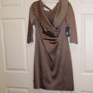 KAY UNGER Bronze Satin Cocktail Dress NWT